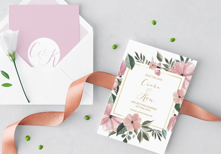 Save the Date Blackbird Studios Luxury Bespoke Affordable Wedding Stationary Dublin Clare Ireland